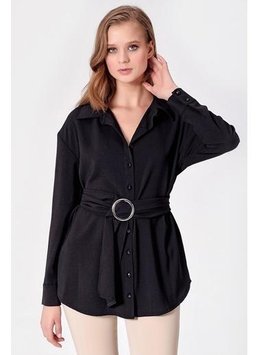Jument Aerobin Yakalı Uzun Kol Kemerli Tunik Gömlek Siyah